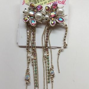 Betsey Johnson New Pearl Butterfly Earrings
